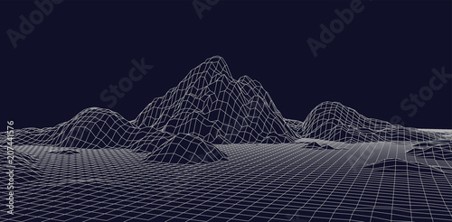 Fototapeta Abstract vector wireframe landscape. Abstract mesh landscapes. Polygonal mountains. Vector illustration. obraz