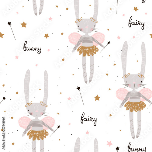 Fotografiet  Seamless pattern with cute bunny ballerina with wings, stars, magic wand