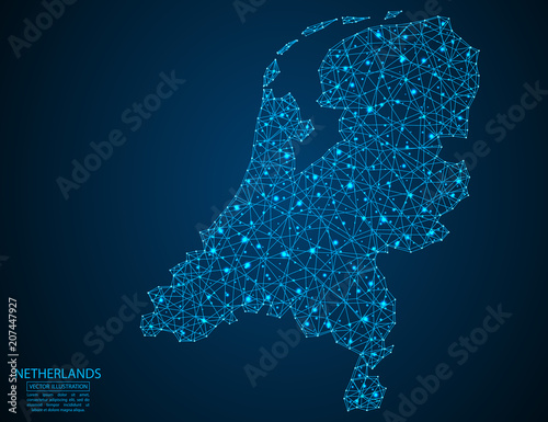 Photo A map of Netherlands consisting of 3D triangles, lines, points, and connections