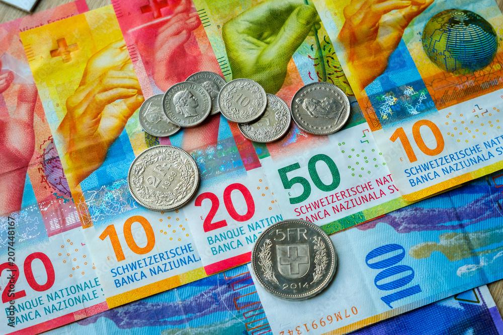 Fototapeta Switzerland money banknotes and coins