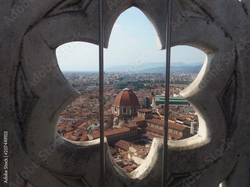 Naklejka premium Włochy, Wenecja - rozeta, widok z dzwonnicy przy katedrze Santa Maria del Fiore