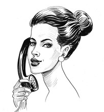 Woman Talking On The Phone. In...