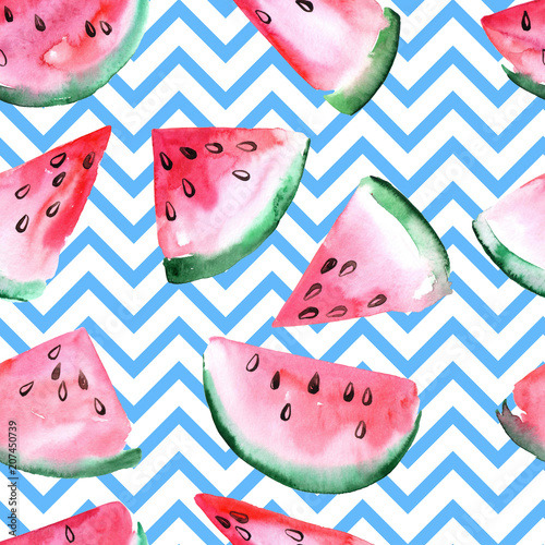 Cotton fabric Watercolor seamless pattern with slices of watermelon.