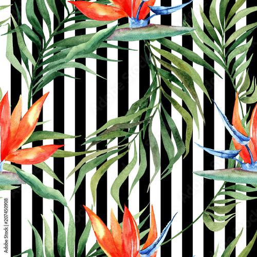 akwarela-bezszwowe-wzor-z-tropikalny-lisci-i-kwiatow