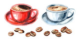 Cup of coffee and coffee beans set. Watercolor hand drawn illustration, isolated on white background