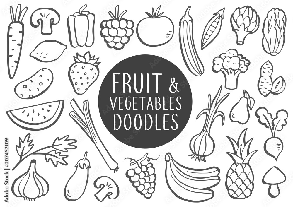 Fruit And Vegetables Doodles