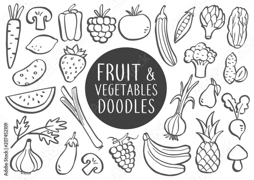 Fotografie, Obraz  Fruit And Vegetables Doodles