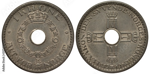 Valokuva Norway Norwegian coin 1 one krone 1940, collar of the order round central hole,