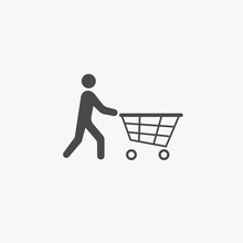 Shopping Icon Person Pushing A Trolley Cart Vector Icon