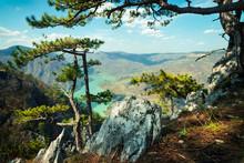 Stunning Mountain Landscape View On The Lake. Tara Mountain In Serbia.
