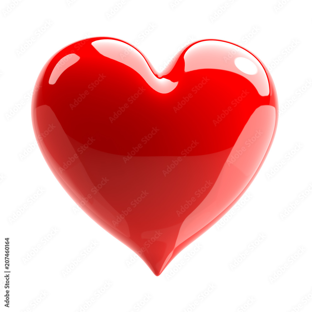Fototapety, obrazy: Red glossy heart. Love symbol. Isolated on white background. 3d Illustration