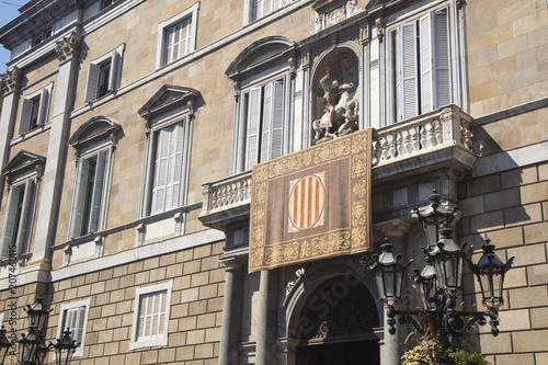 Plakat Barcelona Hiszpania, Wrzesień, - 24, 2017: Widok fasada Autonomiczny rząd Catalonia w Barcelona, Hiszpania.