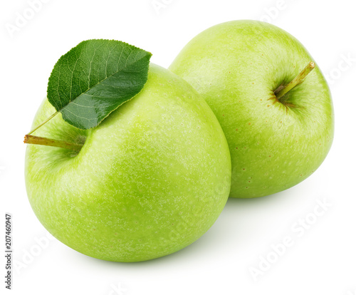 Two ripe green apples with apple leaf isolated on white background. Green apples with clipping path