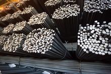 Bundle Reinforcing Bar. Steel Reinforcement. Industrial Background.