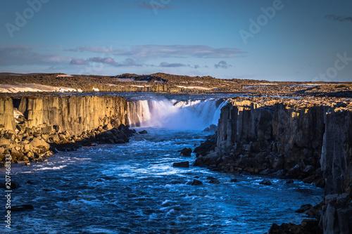 In de dag Blauwe jeans Selfoss waterfall- May 06, 2018: Landscape of Selfoss waterfall, Iceland