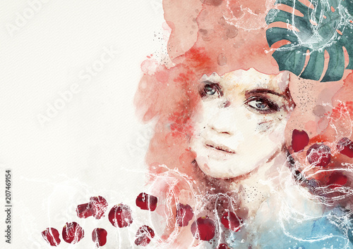 Watercolor abstract portrait of girl. Spa concept bacground