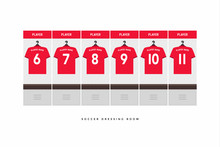Football Or Soccer Dressing Room. Red Shirt Football Team.