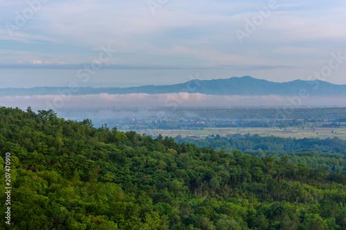 Papiers peints Vieux rose mountain landscape and fog