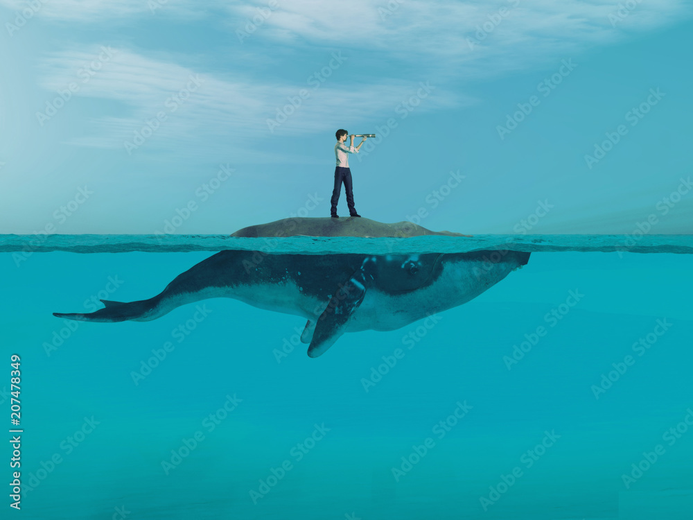 Fototapety, obrazy: Man  above a huge whale in the ocean.