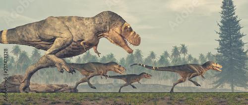 Naklejki dinozaury  family-of-dinosaurs-tyrannosaurus-rex