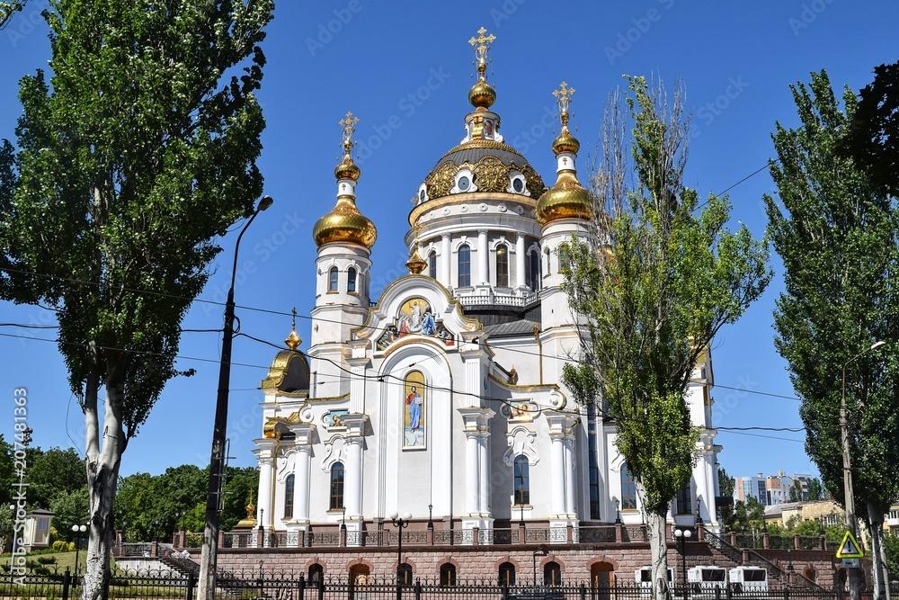 Fototapety, obrazy: orthodox crosses on gold domes