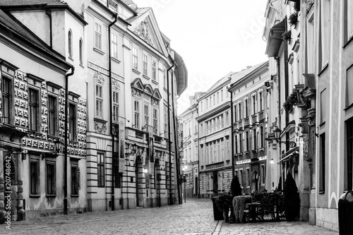 Fototapeta KRAKOW, POLAND - August 27, 2017: antique building view in Krakow, Poland obraz