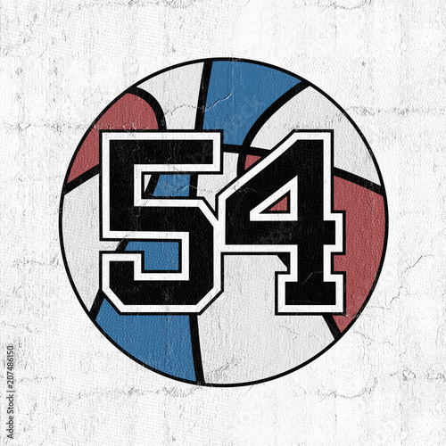 ball of basketball symbol with number 54 Wallpaper Mural