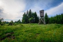 Hochsitz In Wald Landschaft Erzgebirge