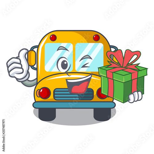 Keuken foto achterwand Cars With gift school bus mascot cartoon