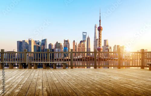 Türaufkleber Shanghai Shanghai city skyline