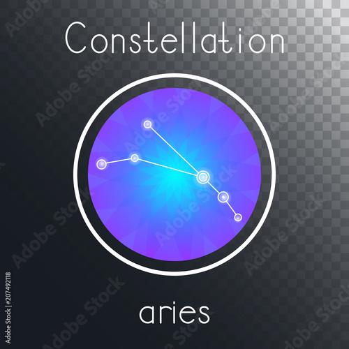 Fototapeta Vector round icon with Zodiac constellation ARIES. obraz na płótnie