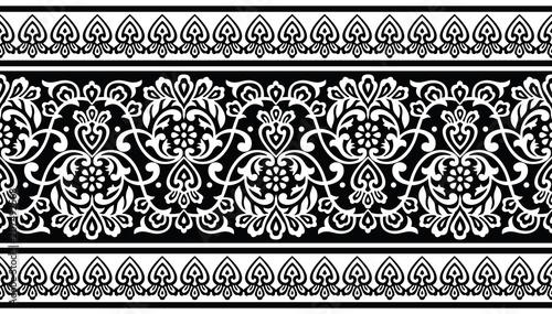Fotografie, Obraz  Seamless traditional black and white indian border