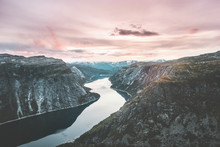 Landscape Mountains And Lake Ringedalsvatnet In Norway Travel Sunset Sky Scenic View