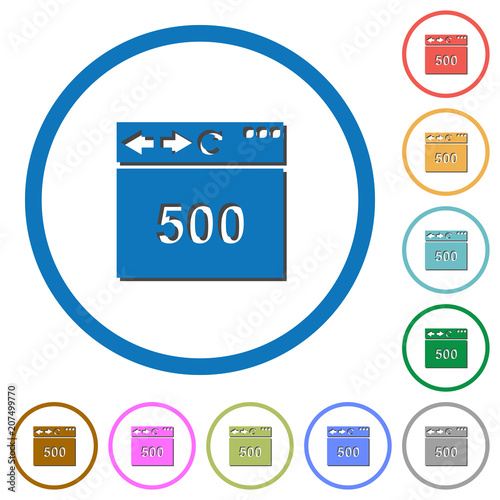 Poster  Browser 500 internal server error icons with shadows and outlines