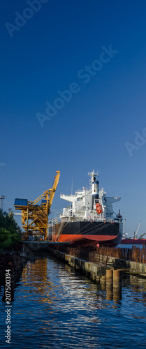 In de dag Poort BULK CARRIER - Freighter at the port wharf