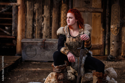Red-haired woman is a Viking Wallpaper Mural