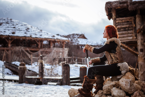 Fotografie, Obraz  Red-haired woman is a Viking