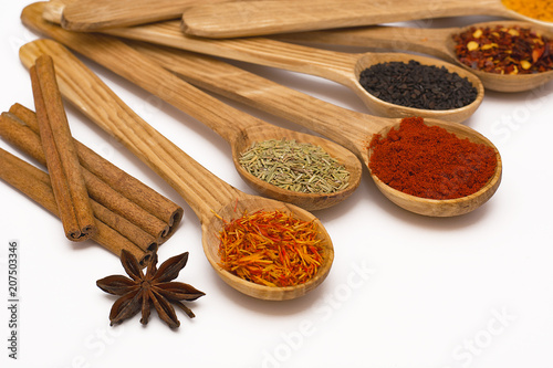 Printed kitchen splashbacks Spices Spice. Spice in a wooden spoon. Herbs. Curry, saffron, turmeric, pepper and other isolated on white background.