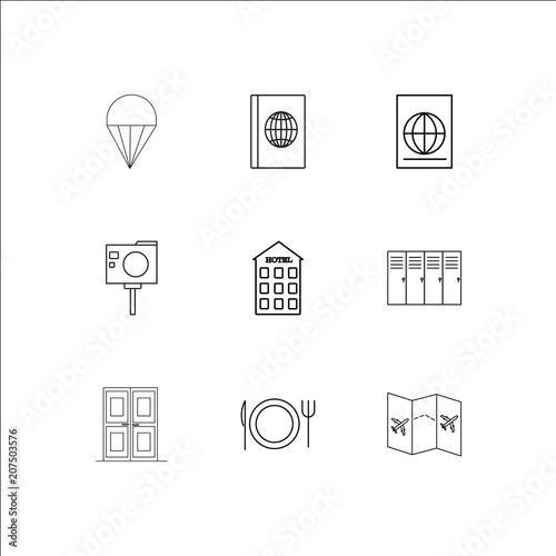 Photo  Travel And Tourism outline vector icons set