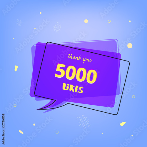 Fotografie, Obraz  5000 likes thank you post for social media. Vector illustration.