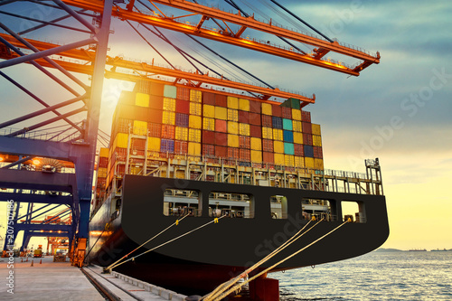 A large general cargo vessel at shipping yard and loading terminal with industrial crane Canvas-taulu