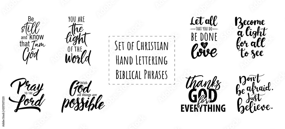 Fototapety, obrazy: Set of Christian Hand Lettering Biblical phrases. Vector Biblical Calligraphy quotes