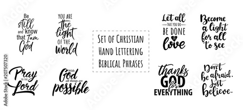 Fotografía  Set of Christian Hand Lettering Biblical phrases