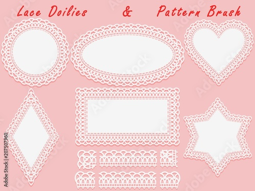 Valokuvatapetti Set of lace elements, vintage paper doily and openwork pattern brush, template for cutting, greeting element, laser cut
