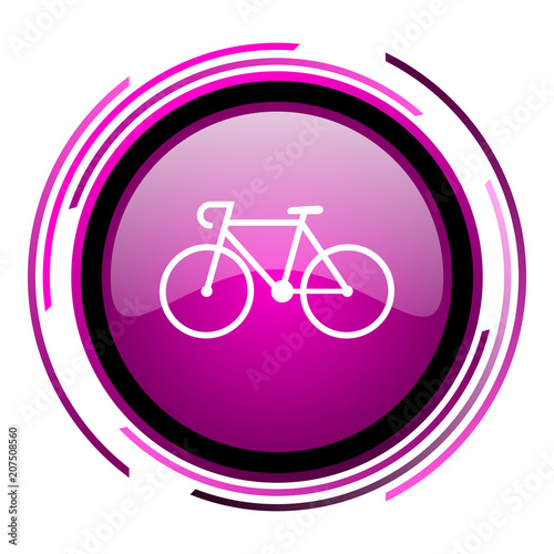 Foto op Plexiglas Fietsen Bicycle pink glossy web icon isolated on white background