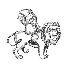 Gnome On Lion Engraving Vector...