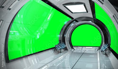 Cuadros en Lienzo Spaceship bright interior with 3D rendering