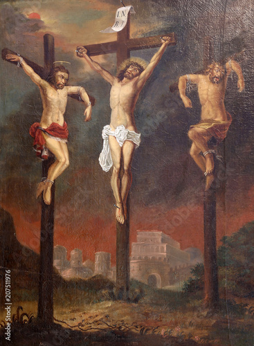 Calvary, Saint Dizma beside Jesus on the cross, Chapel of Saint Dismas in Zagreb Fototapet