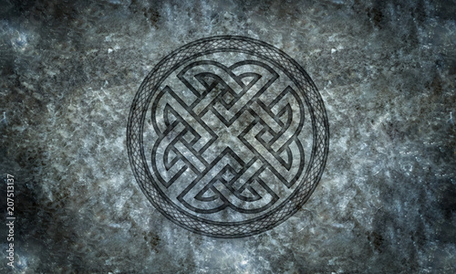 Photo  Celtic or Norse Knotwork in Stone