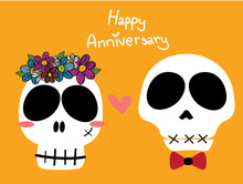Funny Skulls Bride And Groom Or Woman With Flower Crown And Man With Red Bow Ribbon On Yellow Background